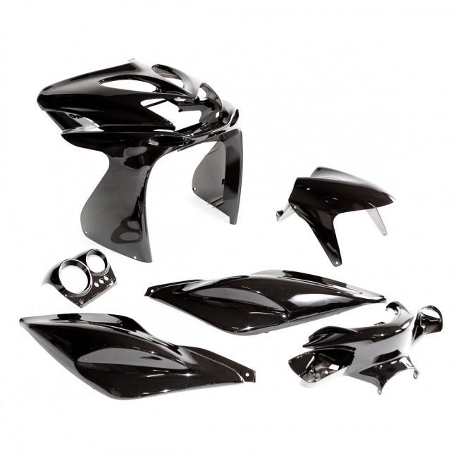 verkleidung schwarz met yamaha aerox mbk nitro 50 verkleidungskit 7 teile ebay. Black Bedroom Furniture Sets. Home Design Ideas