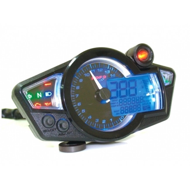 speedometer koso digital cockpit rx1n display turns black blue illuminated scooter. Black Bedroom Furniture Sets. Home Design Ideas